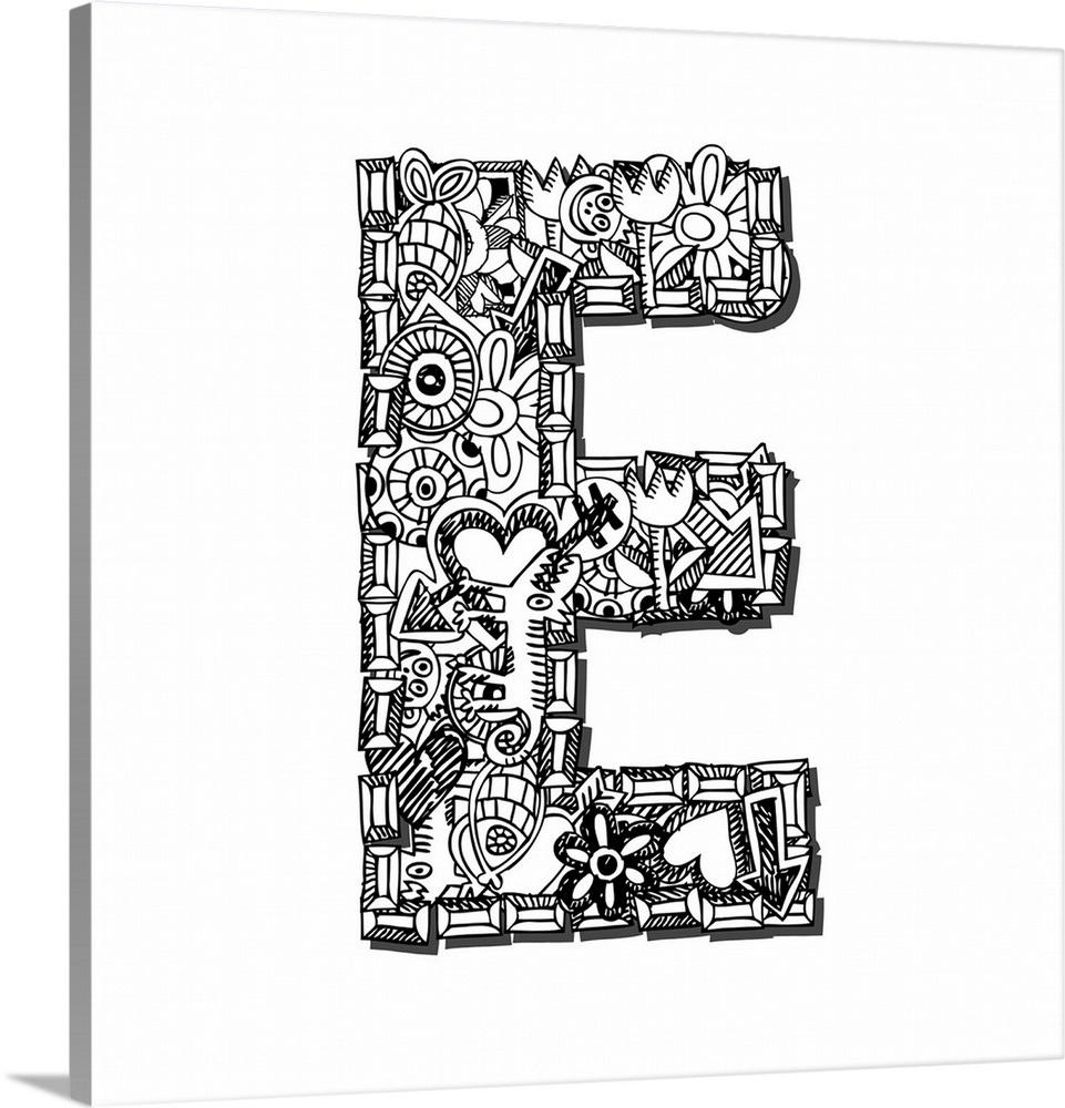 E - Doodle Letter Art