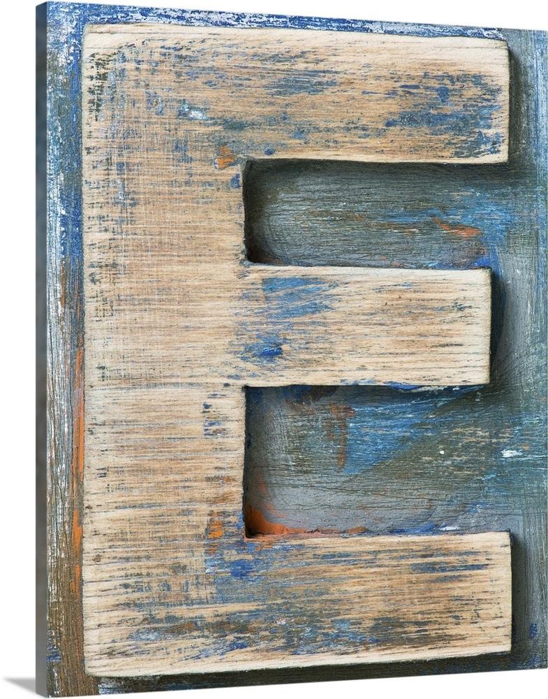 E Wood Block Color Letter Art