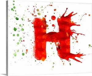 H Paint Splatter Letter Art Wall Art Canvas Prints