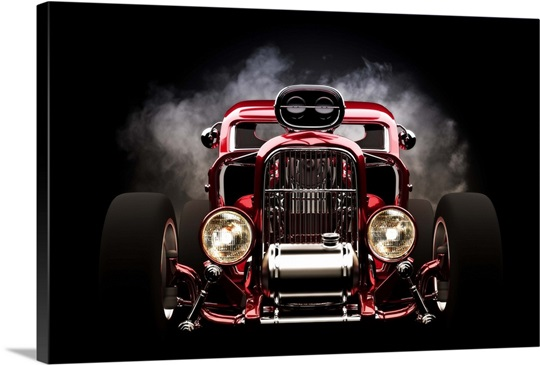 Hot rod with smoke background Wall Art, Canvas Prints, Framed Prints ...