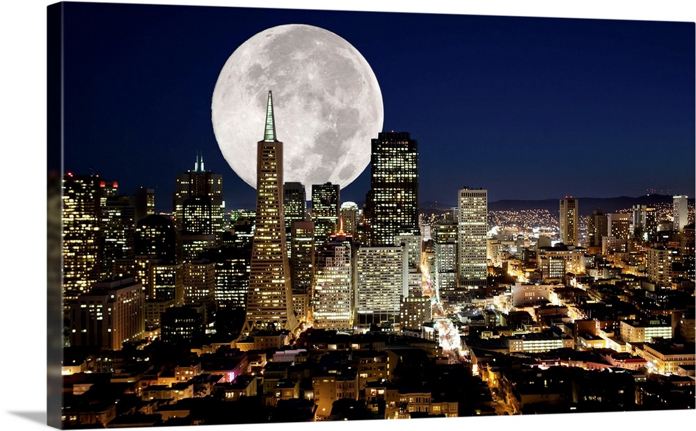 Huge Full Moon Over San Francisco