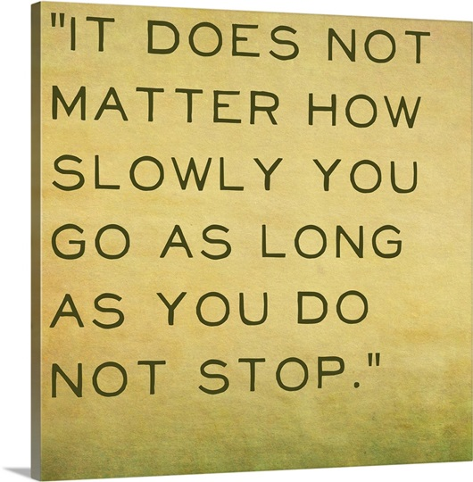 It Does Not Matter How Slowly You Go - Inspirational Quote by ...