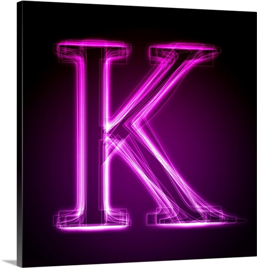 k   purple neon shift letter art wall art canvas prints