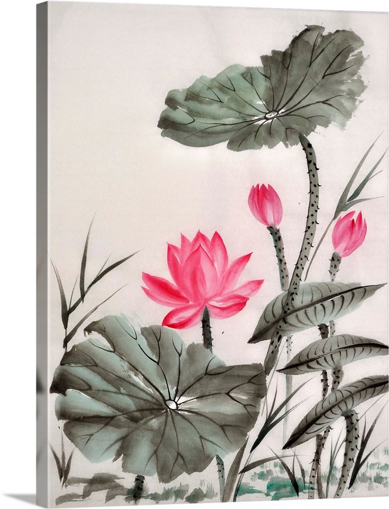 Lotus Flower Watercolor Wall Art Canvas Prints Framed Prints Wall