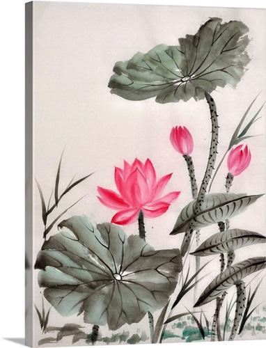 Lotus flower watercolor wall art canvas prints framed prints wall lotus flower watercolor mightylinksfo