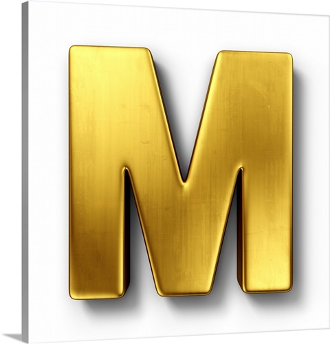 M - Solid Gold Letter Art Wall Art, Canvas Prints, Framed Prints ...