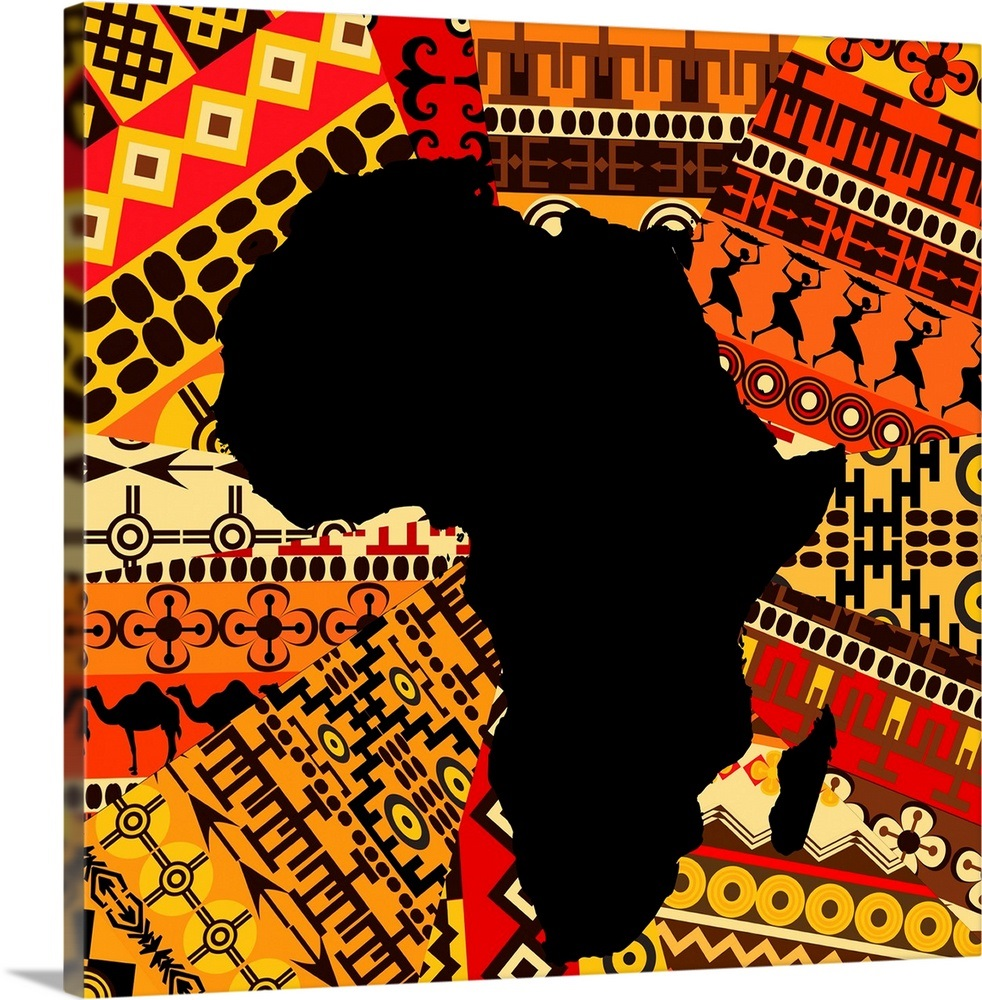Map of Africa on Traditional Patterns Wall Art, Canvas Prints