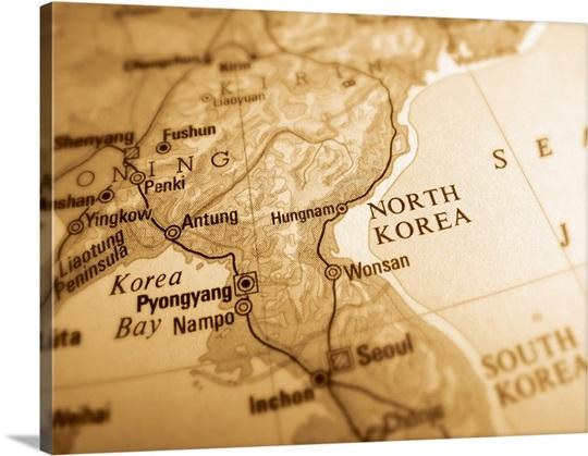 Map Of North Korea Wall Art, Canvas Prints, Framed Prints, Wall ...