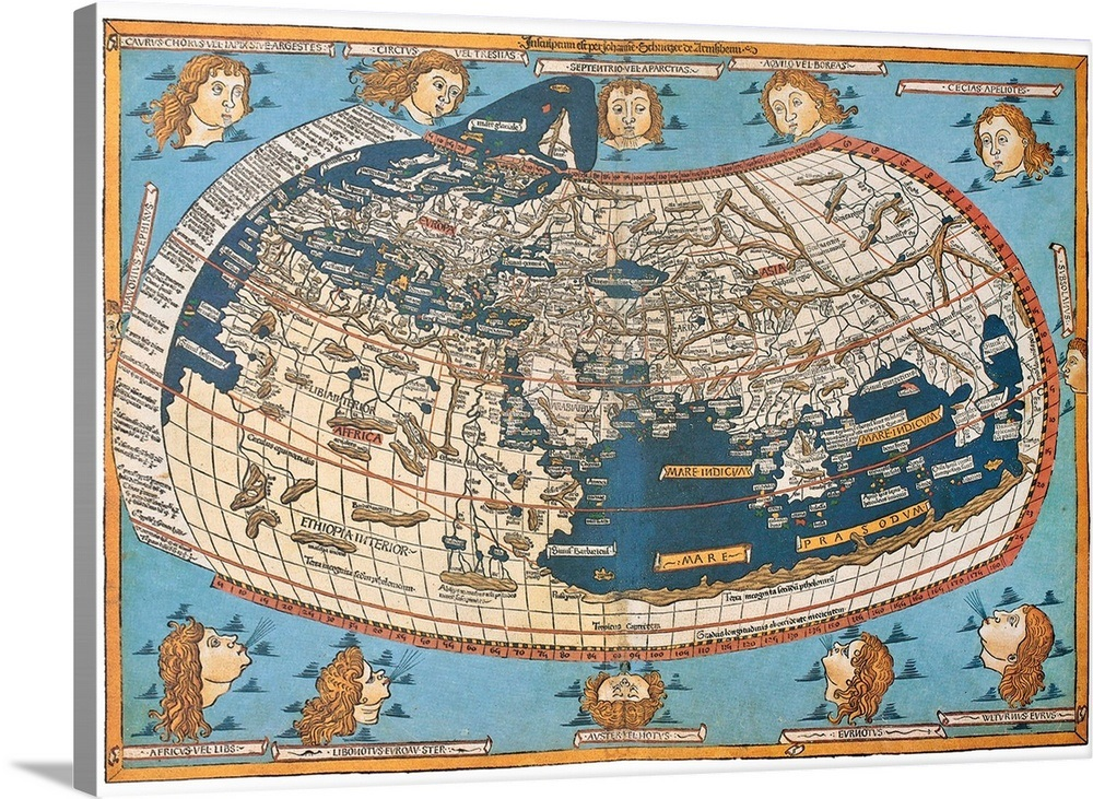 Map Of The World After Claudius Ptolemy S Work Egyptian Roman Wall