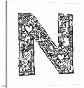 N Doodle Letter Art Wall Art Canvas Prints Framed