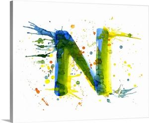 N Paint Splatter Letter Art Wall Art Canvas Prints