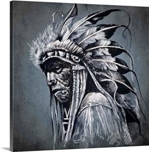 Native American, Profile Portrait Photo Canvas Print ...
