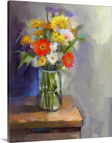 Oil Painting Of Flowers In A Glass Vase Sitting On A Table Wall Art