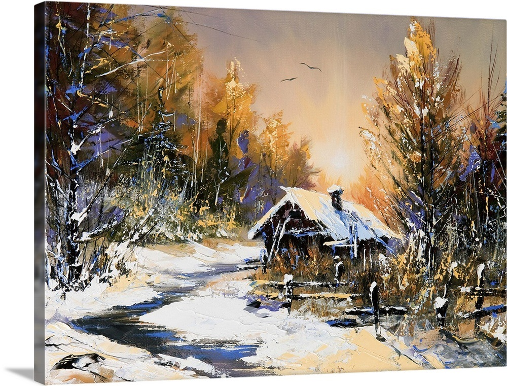 Oil Painting Of Rural Winter Landscape