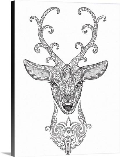 Ornate Deer Head Tattoo Design Wall Art Canvas Prints Framed Prints