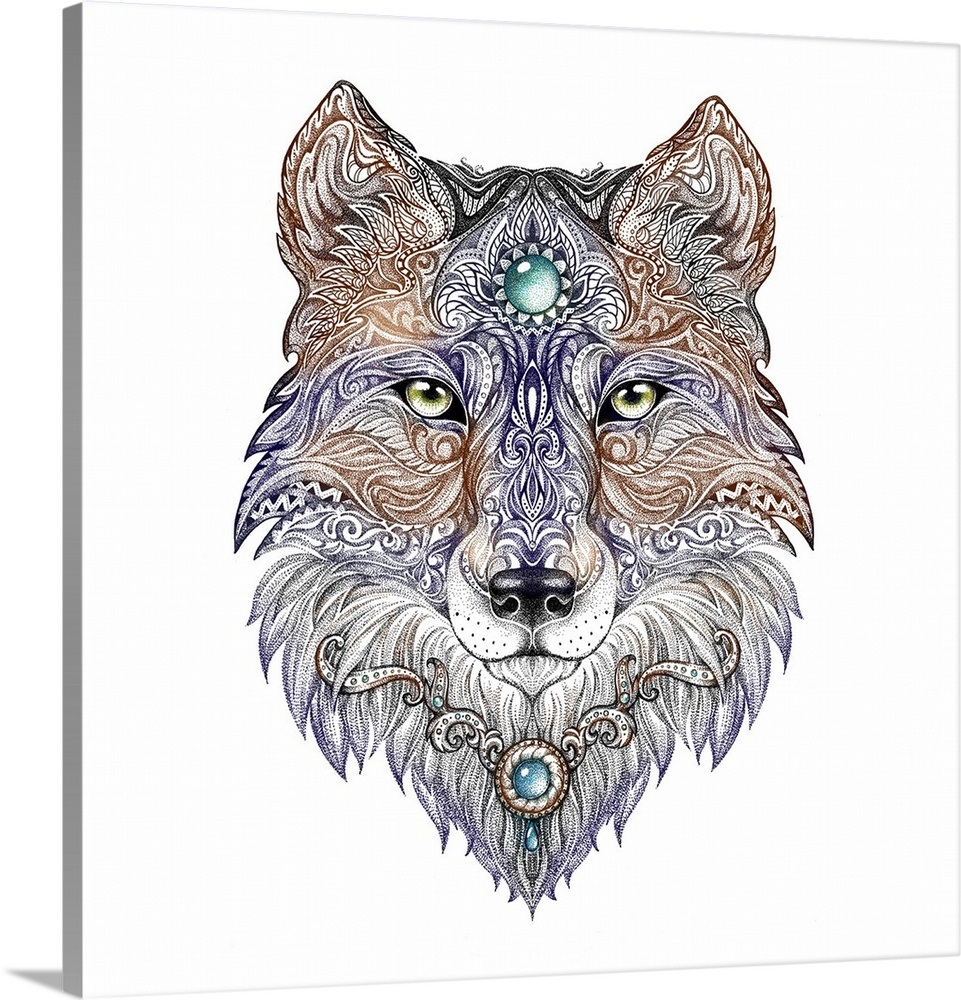 2be69c8d58b9a Ornate wolf head tattoo design Wall Art, Canvas Prints, Framed ...
