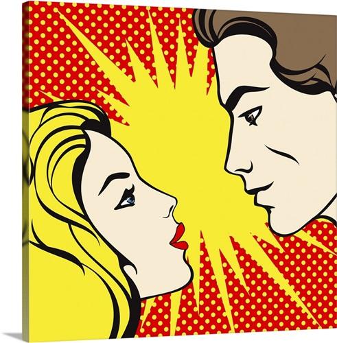 Pop art stylized man and woman gazing into each others eyes Wall Art ...