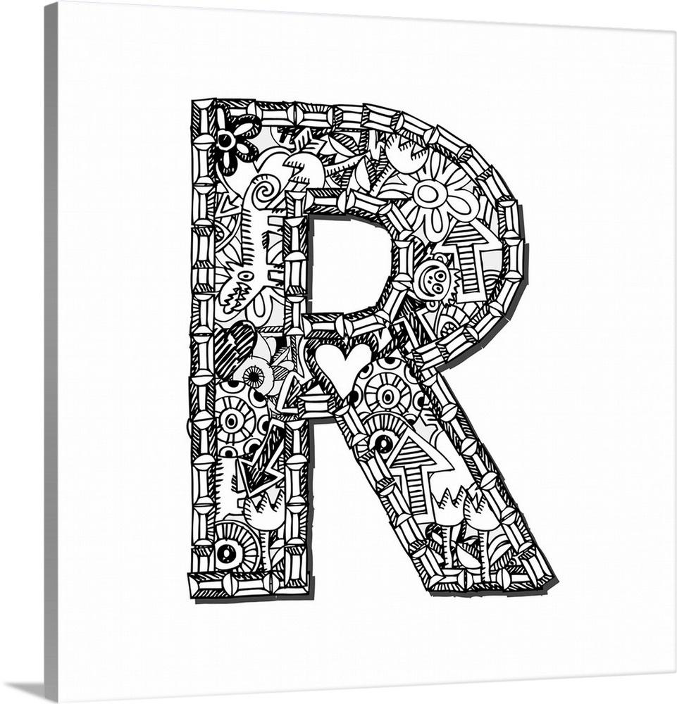 R - Doodle Letter Art
