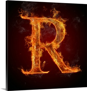 R Letter In Blue Fire R - Flame Letter Art W...