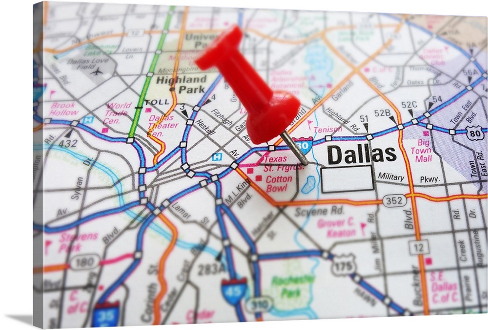 Red push pin and a map of Dallas Texas Wall Art Canvas Prints