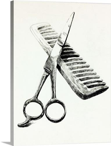 scissors and comb wall art canvas prints framed prints wall peels