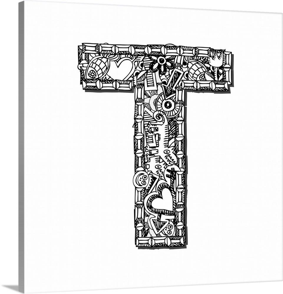 T - Doodle Letter Art