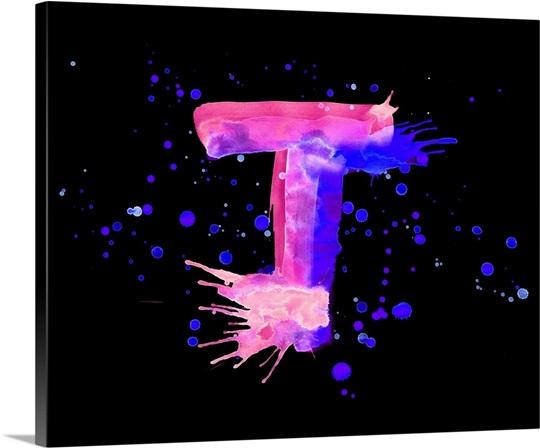 Well-liked T - Neon Paint Splash Letter Art Wall Art, Canvas Prints, Framed  NL23