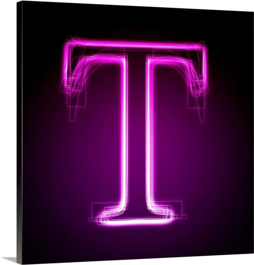 T purple neon shift letter art great big canvas t purple neon shift letter art sciox Images