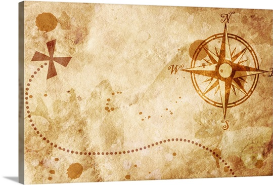 treasure map with compass wall art canvas prints framed prints