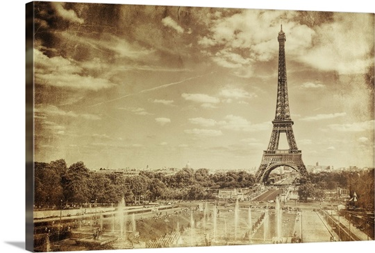 Vintage Sepia Photo Of The Eiffel Tower Wall Art, Canvas Prints ...