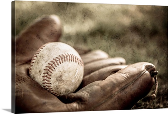 Vintage Style Baseball Glove And Ball Wall Art Canvas
