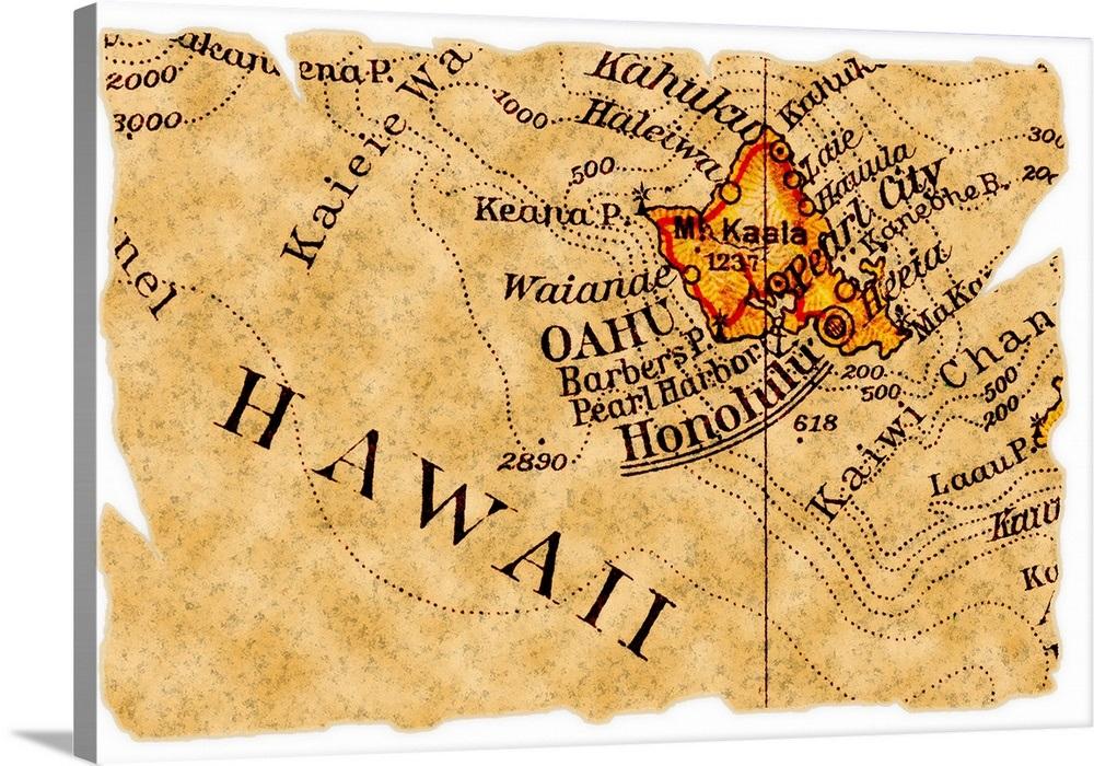Vintage Style Map Of Oahu, Hawaii on tahiti map, waikiki map, pearl harbor map, montana map, niihau map, hawaii map, south carolina map, colorado map, molokai map, honolulu map, haleiwa map, hanauma bay map, maui map, hilo map, kauai map, big island map, kahoolawe map, california map, kaneohe bay map, lanai map,