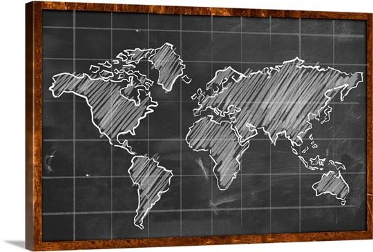 World map chalk drawing wall art canvas prints framed prints wall world map chalk drawing gumiabroncs Choice Image