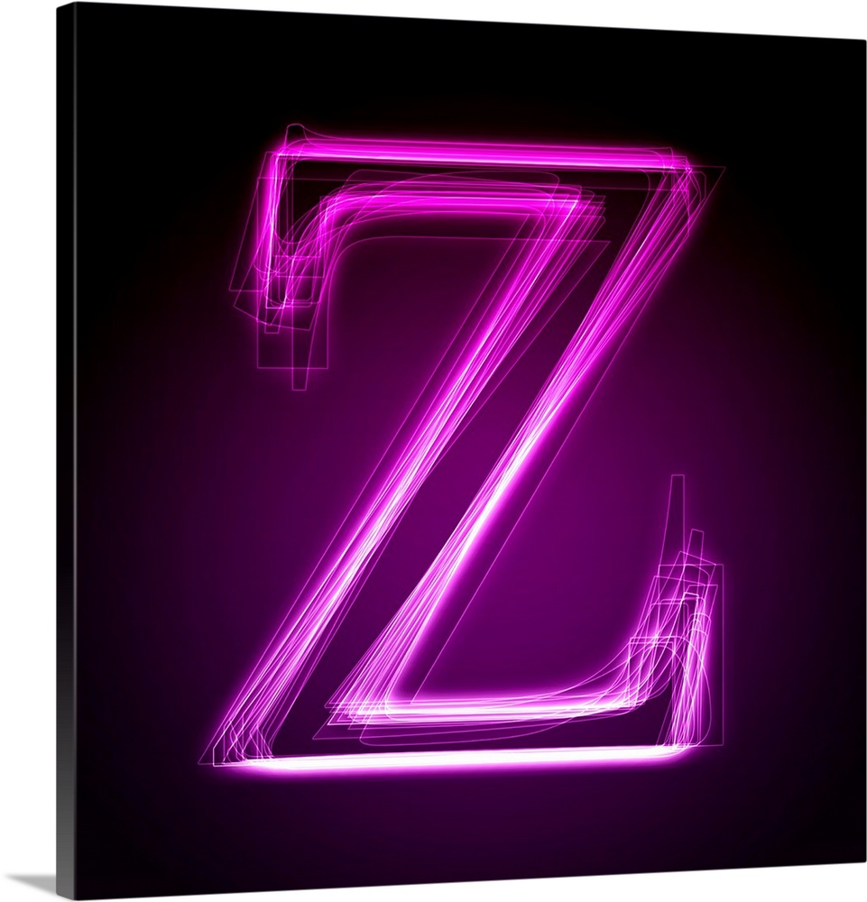 Z   Purple Neon Shift Letter Art. Canvas