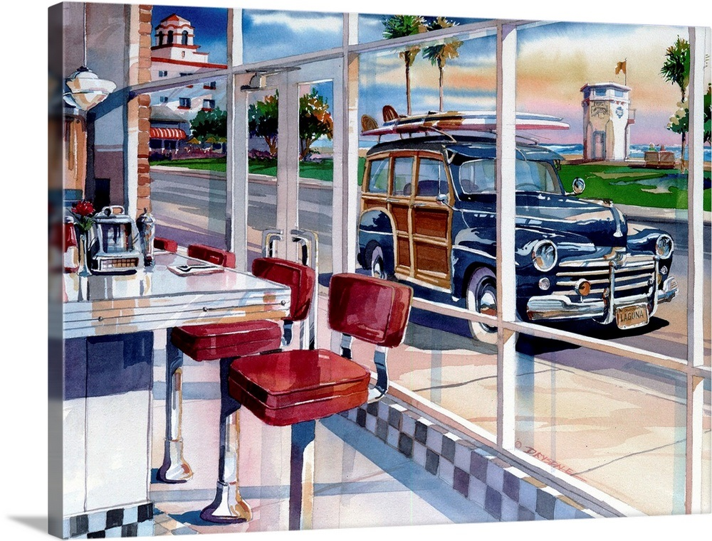 The Diner 30 X23 Gallery Wred Canvas
