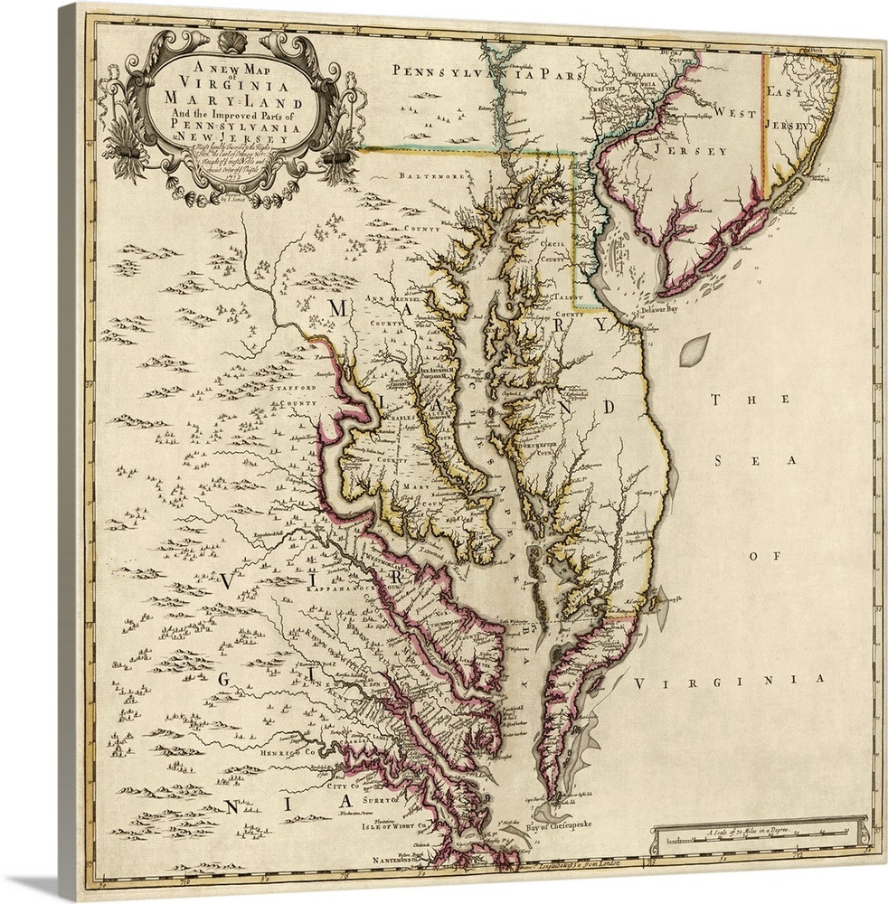 A New Map Of Virginia Maryland And Parts Of Pennsylvania And New