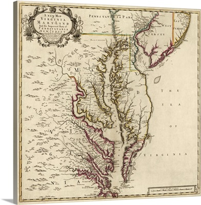 A New Map of Virginia, Maryland, And Parts of Pennsylvania and New Jersey, 1719