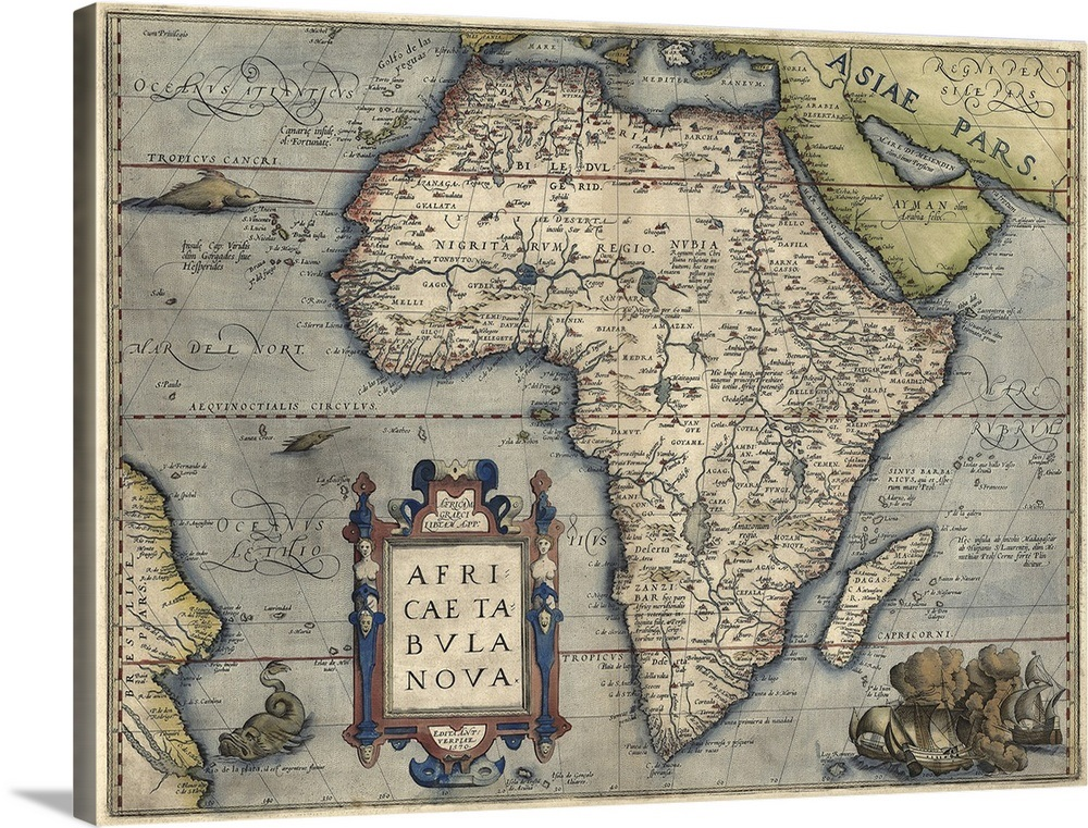 Antique Map of Africa, 1570 Wall Art, Canvas Prints, Framed Prints