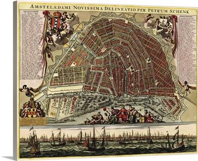 Antique Map of Amsterdam, ca. 1702