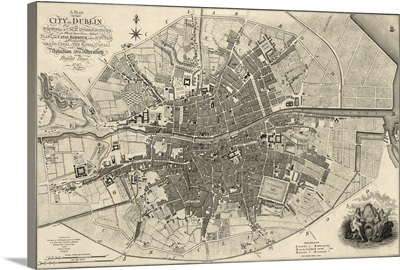Antique Map of Dublin, 1797