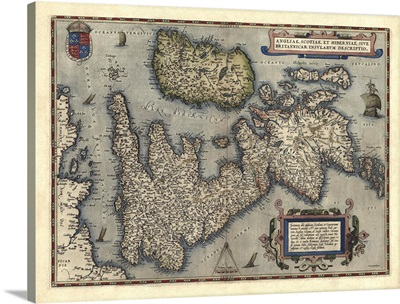 Antique Map of Great Britain and Ireland, 1570