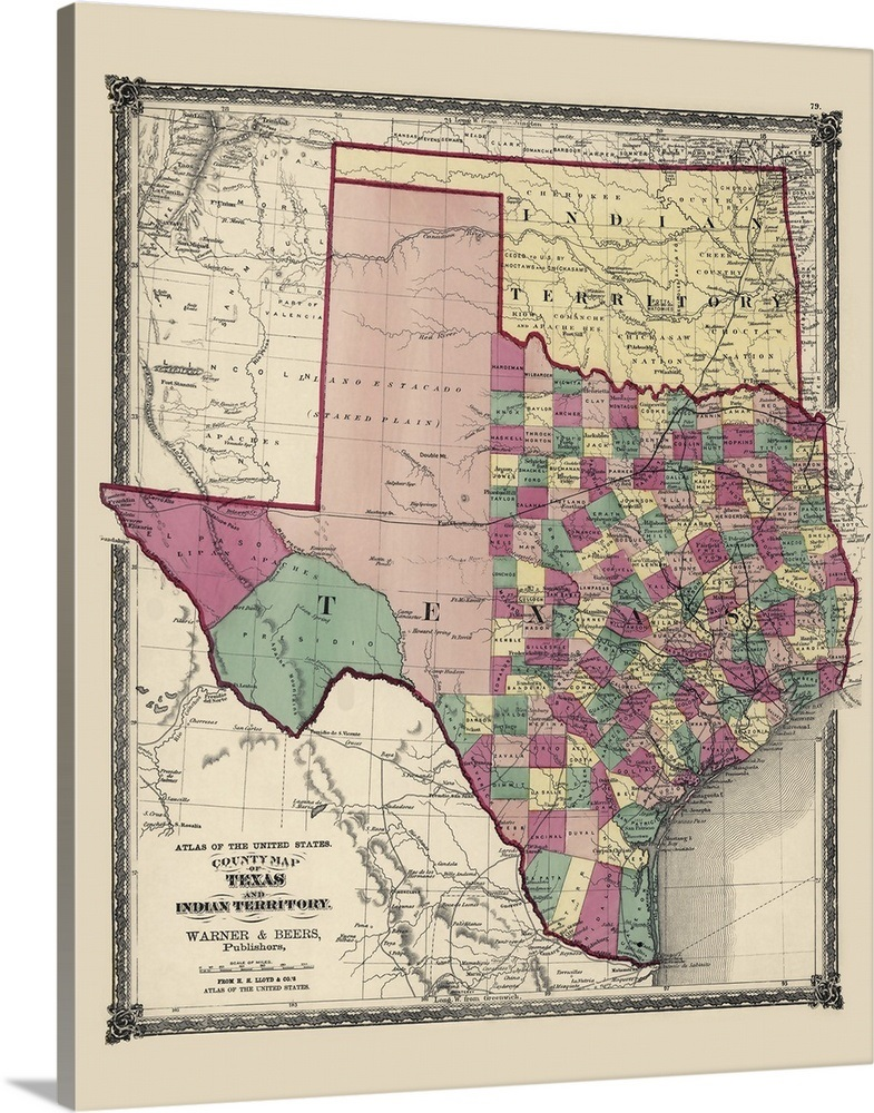 Antique Map of Oklahoma and Texas, 1875