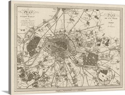 Antique Map of Paris, 1805