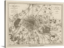 Antique Map of Paris, 1805