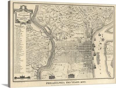 Antique Map of Philadelphia, 1875