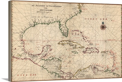 Antique Map of the Caribbean, ca. 1639