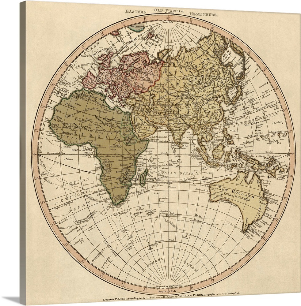 Antique Map of the Eastern Hemisphere, 1786
