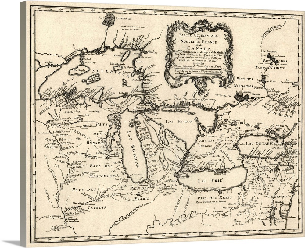 Antique Map of the Great Lakes and the Midwest US, 1755 Wall Art ...