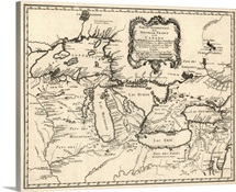 Antique Map of the Great Lakes and the Midwest US, 1755