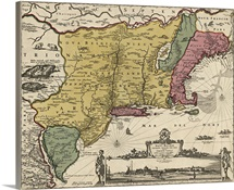 Antique Map of the Mid Atlantic and New England, 1685
